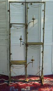 Antique Italian Regency Gold Gilt Tole Etagere Toleware Shelf Flowers Weathered