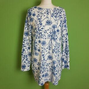 M-amp-S-Collection-Womens-Tunic-Top-UK-14-White-Blue-Floral-Long-Sleeve-Jersey