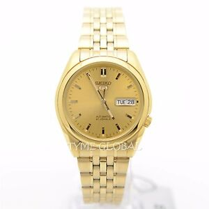 seiko 5 snk366k1 automatic stainless steel gold analog men 039 s image is loading seiko 5 snk366k1 automatic stainless steel gold analog