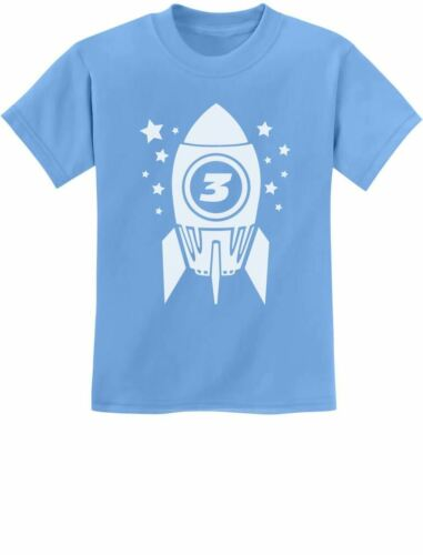 Gift for Three Year Old 3rd Birthday Space Rocket Youth Kids T-Shirt Cute