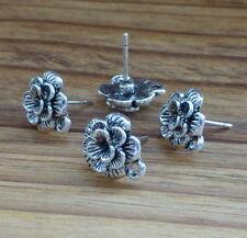 Antique Silver Flower Earrings Studs Component - 10 pcs