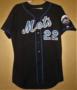 buy popular d773a 85bac Details about NEW YORK METS AL LEITER BLACK 2003 BUTTON-DOWN MLB JERSEY