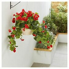 Artificial Red Geranium Hanging Basket Outdoor Decor Plant Real Looking Flowers