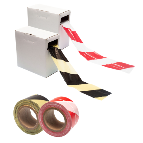 Barrier Tape Hazard Warning Non Adhesive, Black/Yellow or Red/White, 500m x 75mm