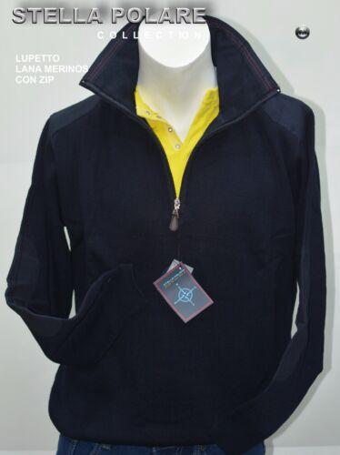 Maglia Lupetto Stella Polare  Lana Merinos Con Zip Colore Blu MIsure M L XL XXL