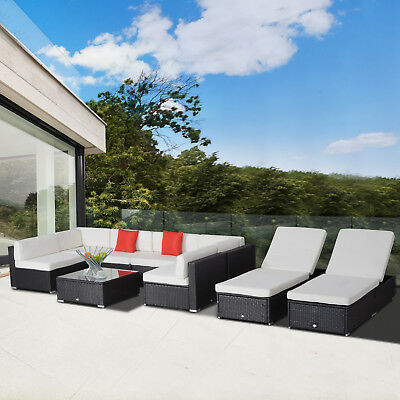 9pcs Patio Rattan Wicker Sofa Set Garden Furniture Lounger Chair Bed Cushioned