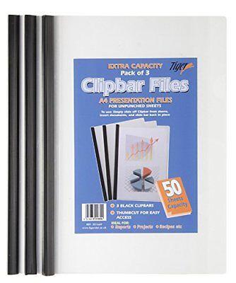 3X A4 XL Capacity Clip Bar Files Report Project Black Slide Binder Folders