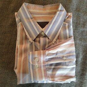 Talbots-Mens-Large-White-Long-Sleeve-Shirt-w-Blue-Brown-Orange-stripes