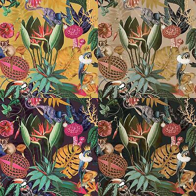 Jungle Exotic Wonderland Wallpaper Holden Black Plum Gold Ochre Birds Animals