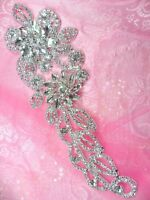 N5 Bridal Flower Crystal Rhinestone Applique Metal Back Floral Embellishment 9
