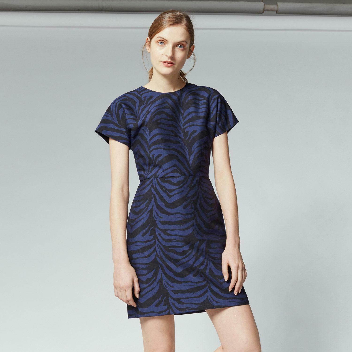 Warehouse Zebra Jacquard Dress Blau Größe 12 rrp   SA079 KK 12