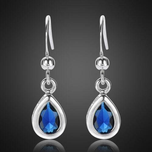 Noël Bijoux Lady Poire Saphir Bleu Or Blanc Plaqué Dangle Earrings