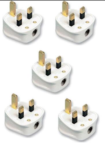 5 X 13AMP UK 3 broches soudées blanc secteur Plastique Plug 13 A Pack Socket vrac BS1363