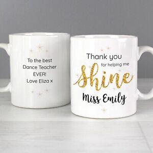 Birthday Thank You Teacher Personalised Coloured Swirls Gift Coffee Mug