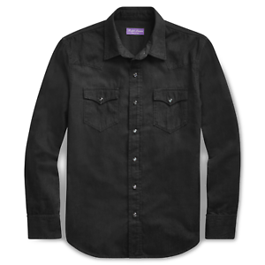 $495 Ralph Lauren Purple Label Italy Black Denim Snap Button Down Western Shirt