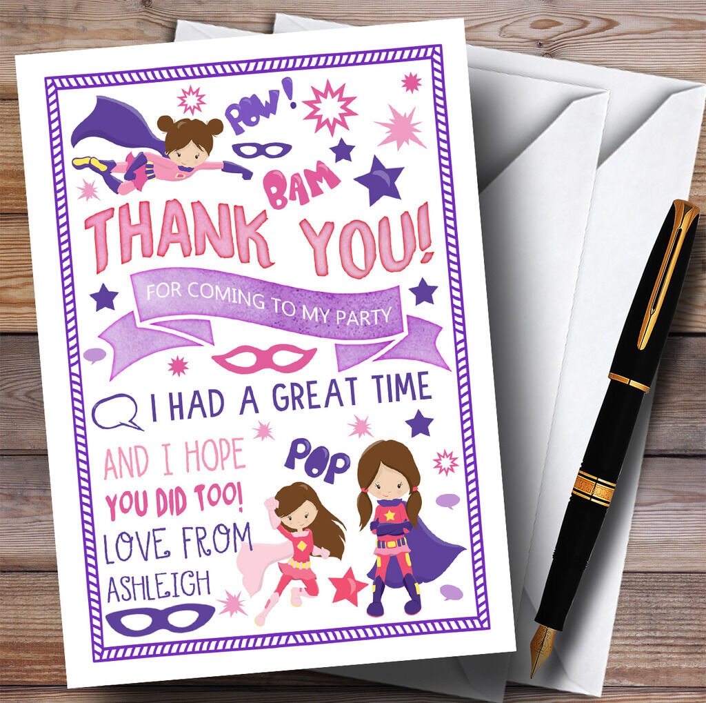 Girls Superhero Party Thank You Cards