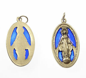 Catholic-silver-metal-Virgin-Mary-Miraculous-medal-blue-stained-glass-Medal-big