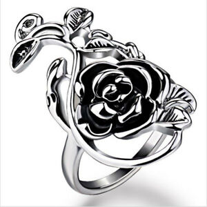 Fashion-Stainless-Steel-Open-Rose-Flower-and-Vine-Ring-Women-Silver-Jewelry-Gift