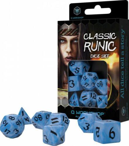 QWSSCLR2C Q-Workshop Classic Runic Dice Set Glacier /& Black 7