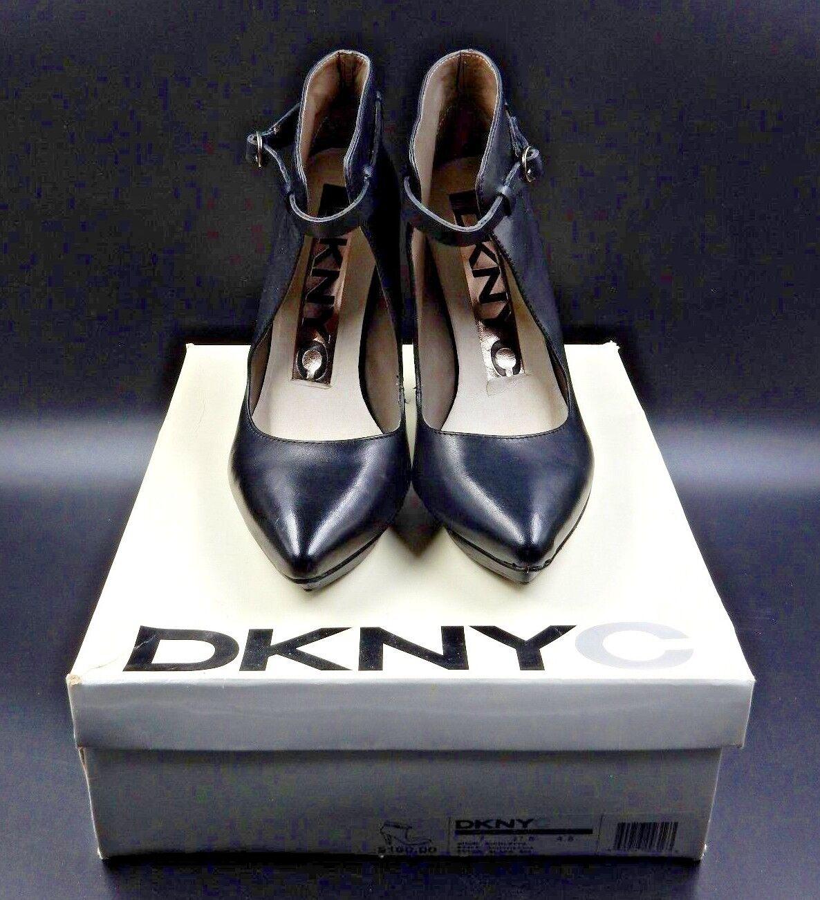 DKNY NICOLETTE CALF HEIGHT OPEN FRONT POINTED TOE HEELED schwarz Stiefel - Größe 7