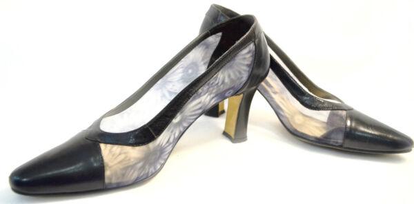 5ff895cd303 J. Renee pumps Black Leather floral sheer mesh Heels pumps slides Shoes  shoe 8 M