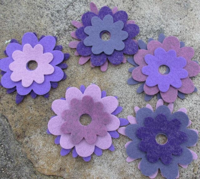 15 Wool Blend Die Cut Applique Flowers - Sugar Plum