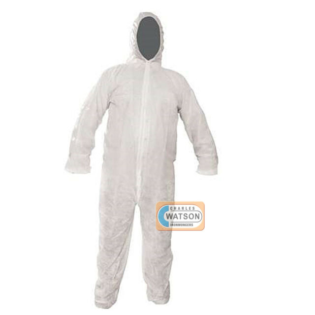 White PACKAGING AND DISPOSABLES Disposable Coveralls Overalls Boilersuit Hood Painters Protective Suit .