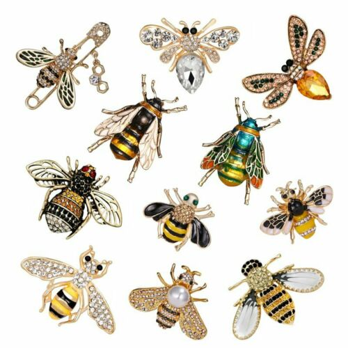 Délicate petite abeille insecte Cristal Strass Collier Broche Pin Bijoux Cadeau Hot