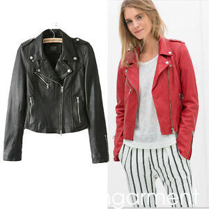 be79d089682 Red Leather Bomber Jacket Women