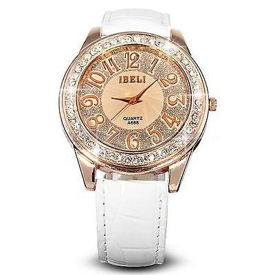 Fashion Bling Crystal Women Lady Girl Analog White Leather Quartz Watch Gift