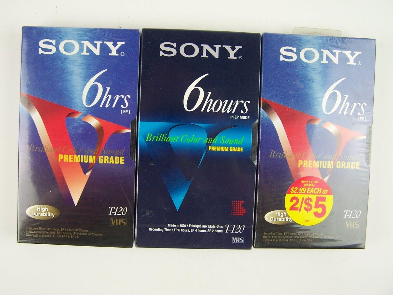Sony 6 Hour T-120VE/T-120VF 3 Pk Premium Grade V VHS Bl