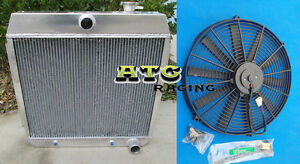 3 ROWS ALUMINUM RADIATOR FOR 1955-1957 CHEVY BEL AIR V8 W//COOLER /& FAN