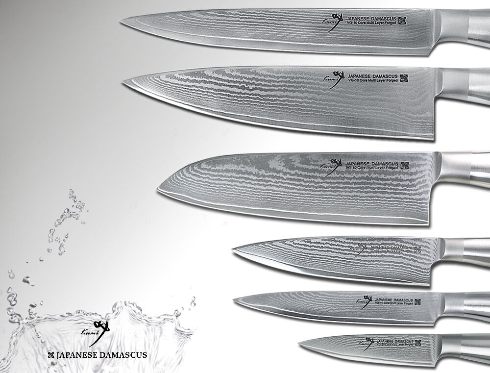 Japanese Damascus Chef's, Santoku, Fillet, Small Chef's, Utilty Paring Knife Set