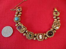 Vintage Goldtone GOLDETTE SLIDE Bracelet~Rhinestones~Faux Stones~Cameo~Snake