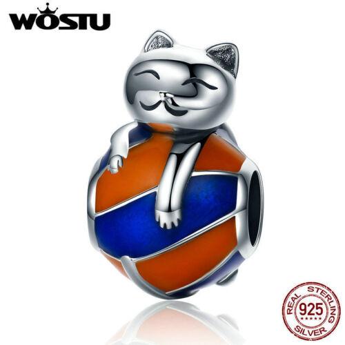 Wostu Naughty Cat S925 Sterling Silver Fit Charm Bead Avec Émail Bijoux Cadeau