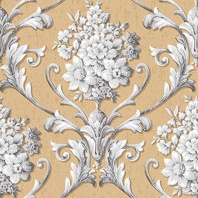 CS35623 - Classic Silks 3 Floral Gold Grey Galerie Wallpaper