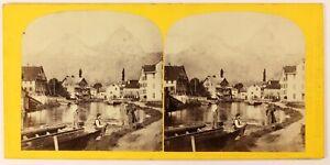 Suisse Brunnen E Dei Mitres Foto Stereo W.Inghilterra Vintage Albumina c1865