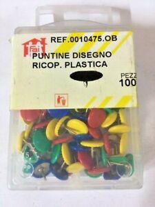 100 Puntine da disegno cancelleria puntina ricoperta plastica multicolore scuola