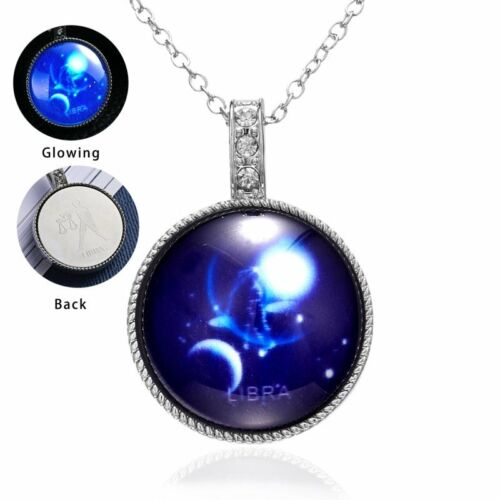 12 Zodiac lumineuse Constellation Glow In The Dark Crystal Collier Pendentif Femmes