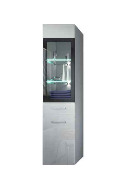 Badezimmer Schrank Rio 131 cm Hochglanz Weiß Fronten