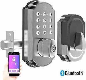 TURBOLOCK TL115 Smart Lock w/ Keypad & Voice Prompts App Digital Deadbolt Silver