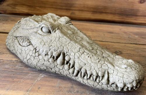 STONE GARDEN CROCODILE ALLIGATOR HEAD DETAILED GIFT CONCRETE ORNAMENT
