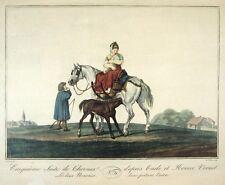 Vintage French Lithograph, Horse Mare Colt, Nurse, Woman, Carle & Horace Vernet