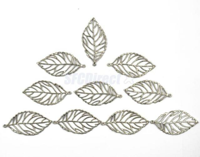 10PCS Silver Leaf Charms Pendants For Necklace DIY Jewelry Findings Craft