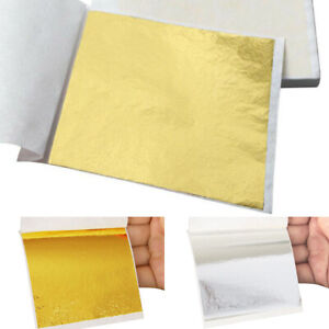 100Pcs Gold//Silver//Tan Foil Leaf Paper Food Cake Decor Edible Gilding DIY Craft
