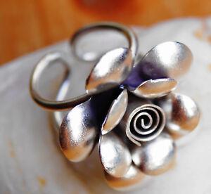 Silberring-OFFEN-ab-61-Handarbeit-3-cm-Rund-Ring-Silber-Floral-Verspielt
