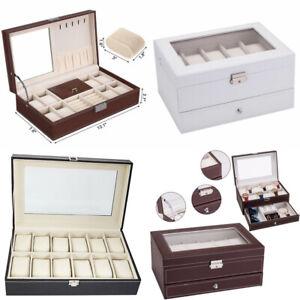 USA-6-10-12-20-24-Slot-Watch-Box-Leather-Display-Case-Organizer-Jewelry-Storage