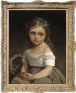 """Hand painted Old Master-Art Oil painting Portrait small girl on Canvas 24""""x36"""""""