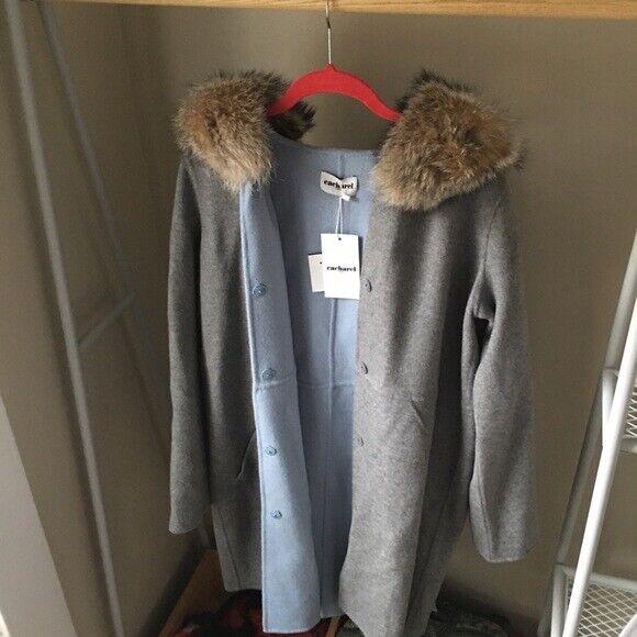 CACHAREL PARIS Fur Hood Parka Coat NWT  1250 US 6  FR 38 NEW