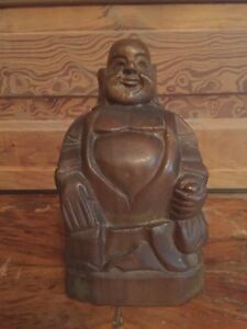 Vintage-Carved-Wood-Laughing-Buddha-Figurine
